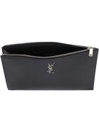 Saint Laurent Leather Tablet Pouch - Nero