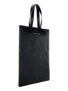 Comme des Garçons Wallet Comme Des Garcons Wallet Leather Logo Print Tote Bag - BLACK