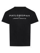 Philosophy di Lorenzo Serafini Black T-shirt For Kids With Logo - Nero