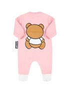 Moschino Pink Babygrow For Baby Girl With Teddy Bear - Pink
