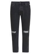 MSGM Destroyed Logo Jeans - black