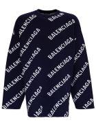 Balenciaga Wool Blend Sweater With Allover Logo - Blu