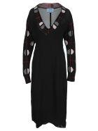 Prada Jaquard Detail Midi Dress - BLACK + GRAY