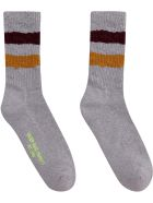 Golden Goose Striped Detail Cotton Blend Socks - grey