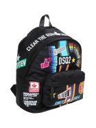 Dsquared2 Traveler Stickers Backpack In Nylon - Black