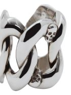 Alexander McQueen Skull Chain Ring - Silver
