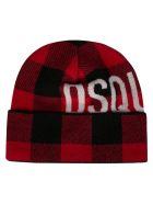 Dsquared2 Check Logo Beanie - Black/Red/White