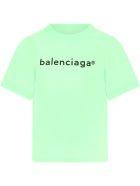 Balenciaga Neon Green T-shirt For Kids With Logo - Green