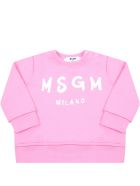 MSGM Pink Sweatshirt For Babygirl With Logo - Pink