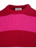 Balenciaga Unisex Pink And Red Striped Crewneck Pullover - Red/pink