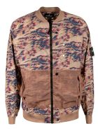 Stone Island Shadow Project Ribbed Zip Bomber - Beige/Multicolor