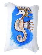 Le Botteghe su Gologone Cotton Hand Painted Indoor Cushion 50x50 cm - Fantasy Cyan