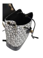 Salvatore Ferragamo Gancini Backpack In Leather And Fabric - Black