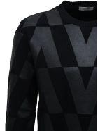 Valentino Black Wool Crew Neck Sweater With Macro Optical Print - Black