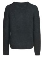 Prada V-neck Woven Sweater - Black