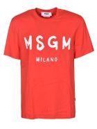 MSGM Logo Print T-shirt - ROSSO