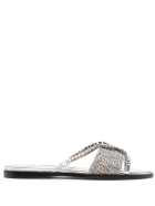 Jimmy Choo Silver And Multicolor Glitter Aadi Flat Sandal