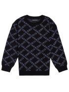 Emporio Armani Black Nylon Blend Sweater With Allover Logo - Black