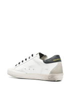 Golden Goose Woman White Super-star Sneakers With Black Spoiler And Purple Glitter Star