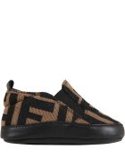 Fendi Brown Sneakers For Babykids With Double Ff - Brown