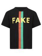 Gucci Black T-shirt For Kids With Web Detail - (black/mc)