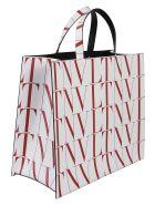 Valentino Garavani All-over Vltn Logo Print Top Handle Shopper Bag - White