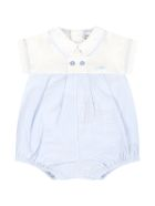 Armani Collezioni Light Blue Romper For Baby Boy With Logo - White