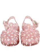 Melissa Pink Sandals For Girl With Daisies - Pink
