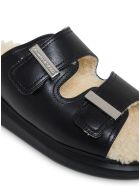 Alexander McQueen Leather And Shearling Black Sandals - White/black