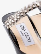 Jimmy Choo Black Patent Leather Mules With Crystal Strap - Black