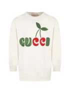 Gucci Ivory Sweatshirt For Kids With Gucci Cherry Print - Ivory