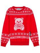 Moschino Red Wool Sweater With Teddy Bear Print - Red