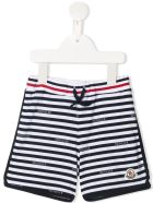 Moncler Newborn Shorts With White And Blue Stripes With Logo - White and blue