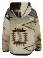 Aries Oversized Ikat Fleece Hoodie - Multicolor