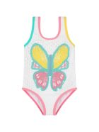 Stella McCartney Kids White Swimsuit For Girl With Butterfly - White