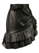 Balmain Ruffle Detail Belted Skirt - Black
