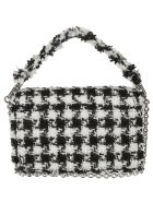 Furla Tartan Check Frayed Shoulder Bag - Black