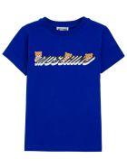 Moschino Blue Cotton T-shirt With Logo Print - Blu