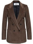 Mauro Grifoni Double-breasted Brown Velvet Blazer - Brown
