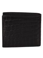 Saint Laurent Crocodile Texture Wallet - Black