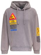 Dolce & Gabbana Washed Effect Jersey Hoodie With Prints - Grey