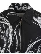 Alexander McQueen Man Black Bomber Jacket With Painted Skull - Black/white