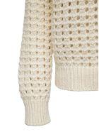 Bottega Veneta Open Mesh Sweater In Ivory Colored Wool - White