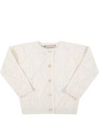 Gucci Ivory Cardigan For Baby Girl With Double Gg - Ivory
