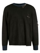 N.21 Jewelry Embellished Sweatshirt - Black/Blue