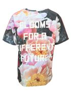Golden Goose Aira T-shirt With Print And Lettering On The Back - FLORAL