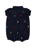 Ralph Lauren Blue Romper For Baby Girl With Pony Logos - Blue