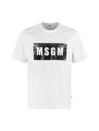 MSGM Logo Print Cotton T-shirt - Bianco
