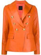 Tagliatore Orange Lamb Skin Double-breasted Blazer - Arancio
