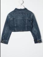 Balmain Kid Denim Jacket With Embossed Logo